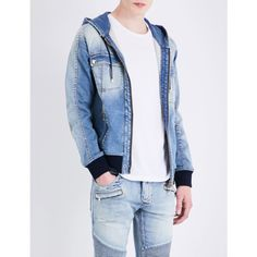 Balmain Hooded stretch-denim jacket ($1,150) ❤ liked on Polyvore featuring men's fashion, men's clothing, men's outerwear, men's jackets, balmain mens jacket, mens zip jacket and mens hooded jackets