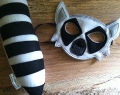 LEMUR Mask and Tail Play Set, Lemur Costume, Halloween Costume, Kid Costume
