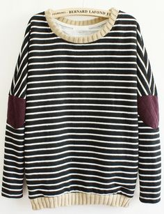 Black Long Sleeve Striped Elbow Patch Sweatshirt - Sheinside.com
