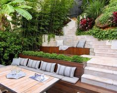 Bondi - A Tropical Hideaway - Growing Rooms - Landscapes For Outdoor Living Tropical Backyard, Tropical Landscaping, Landscaping With Rocks, Modern Landscaping, Backyard Landscaping, Landscaping Ideas, Modern Backyard Design, Outdoor Kitchen Design, Garden Design