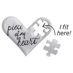 """Large Silver """"You Have a Piece of My Heart"""" Heart Plate -EVERYONE HAS A SPECIAL PERSON WHO HOLDS A PIECE OF THEIR HEART. INCLUDE THIS LARGE SILVER PIECE OF MY HEART PLATE INSIDE YOUR LIVING LOCKET TO REPRESENT THE ONE WHO CAPTURED YOURS. FEATURING A CUT OUT PUZZLE PIECE, KEEP PART OF THE CHARM IN YOUR LOCKET AND GIFT THE OTHER TO A LOVED ONE.  HEART PLATE FEATURES MADE TO EXCLUSIVELY FIT INSIDE THE LARGE SILVER HEART LIVING LOCKET® WITH CRYSTALS"""