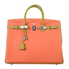 special order hss hermes 40cm birkin bag orange w blue vert anis bi