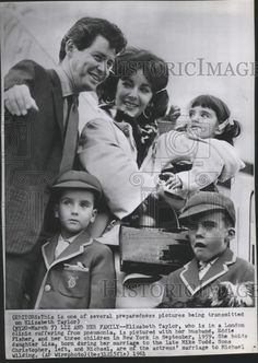 1961 Press Photo Elizabeth Taylor with husband Eddie Fisher and her children   Collectibles, Photographic Images, Contemporary (1940-Now)   eBay!