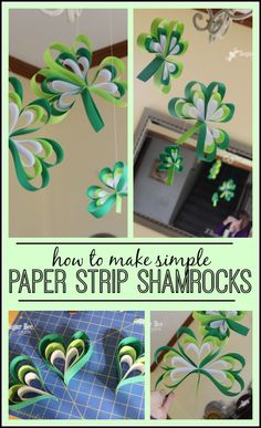 how to make these shamrocks out of just paper - - so easy, but so fun for St. Patrick's Day - - Paper Strip Shamrocks ~ Sugar Bee Crafts Lauren B Montana March Crafts, St Patrick's Day Crafts, Bee Crafts, Spring Crafts, Holiday Crafts, Kids Crafts, Holiday Fun, St Patricks Day Crafts For Kids, St Patrick's Day Decorations