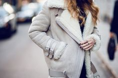 Acne Velocite Jacket in Ash Grey. Estilo Fashion, Ideias Fashion, Women's Fashion, Acne Shearling Jacket, Acne Coat, Vogue, Winter Looks, Winter Style, Mode Inspiration