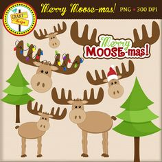 Cute Moose Clipart, Christmas Moose Clip Art