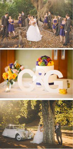 Collette + Guy: Pretty in Perth {colorful, fun, wedding inspiration, #realwedding, Australia, #purple, wedding colors, wedding color scheme, monogram, initials, antique, #vintage-inspired, nature}