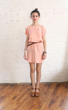 peach cut out sun dress sm by brownbagvintage on Etsy