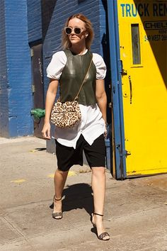 What she's wearing: Vintage top, shirt and shorts, Chloe bag, River Island shoes