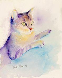 Aquarelle originale de chat violet et jaune - Peinture originale de chat