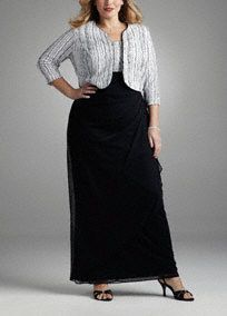 Sophisticated and chic, this black and white dress is sure to sparkle at any event.  Black and white tank bodice features dazzling drizzle glitter detail and coordinates with the 3/4 sleeve drizzle glitterjacket.  Slimming side drape adds dimension to the full length skirt.  Color blocking offers a flattering effect.  Fully lined. Back zip. Dry clean only.  To protect your dress, our Non Woven Garment Bag is a must have!