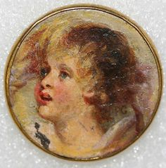 ca 1860 hand painted British metal coin made into a button.  From The Metropolitan Museum of Art.