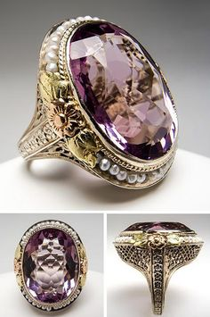 Antique Natural Amethyst & Seed Pearl Cocktail Ring 14K Gold. This spectacular antique amethyst & seed pearl cocktail ring is crafted of solid 14k white, green, yellow, and rose gold. The setting features intricate floral details and filigree. This antique ring is in good condition and shows light overall wear. Via Era Gem.