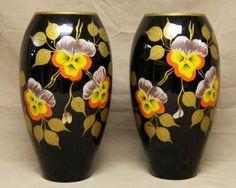 Boom Antwerpen Black Amethyst Glass Vases Vase Pair Hand Painted Floral