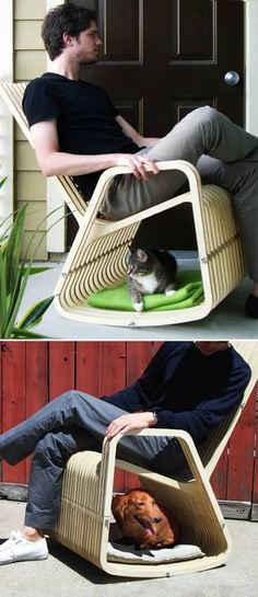 "Your pet usually ends up sitting under your chair or a nearby table anyway, so why not design a chair that's for both of you? The ""Rocking-2-gether Chair"" by Paul Kweton is a hybrid rocking chair and dog/cat house."