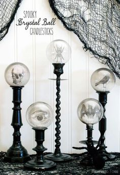 This is brilliant: Spooky Crystal Ball Candlesticks, using graphics printed on transparencies & Christmas ornaments! (Full tutorial at link.)
