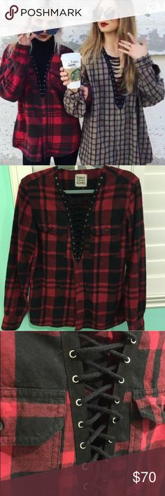 Red and black lace up flannel Lace up flannel from LF! Worn maybe 5x max!!! LF Tops Button Down Shirts