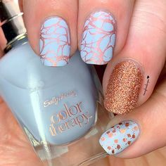 "Here's another installment of ""When Polish Brands Collide""! The base for this look is Color Therapy Bluebell Bloom stamped… Sally Hansen Color Therapy, Autumn Nails, Glitter Nails, Nailart, Manicure, Nail Designs, Nail Polish, Bloom, Stamp"