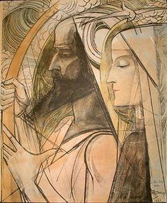 Jean Theodoor Toorop (1858 – 1928). Harpspeler / Harp player,  1921,  Pencil and crayon on paper.