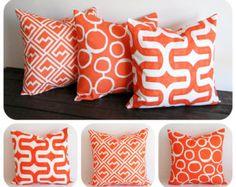 Bright Orange Geometric Cushion Cover Moroccan Lattice Design