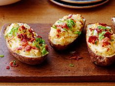 Twice-Baked Potatoes : Baked potatoes get taken to another level with all of the classic toppings mixed in. According to Trisha, they're best when baked unwrapped so the shells stay sturdy.