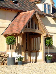 Outbuildings - Border Oak - oak framed houses, oak framed garages and structures. Porch Oak, Front Door Porch, Front Porch Design, House Front, Front Porches, Cottage Front Doors, Cottage Porch, Cottage Extension, Porch Extension
