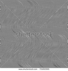 Vertical curved wavy lines seamless pattern. Vector texture with black and white waves, thin stripes. Dynamical 3D effect, illusion of movement. Modern abstract ripple background. Repeat design