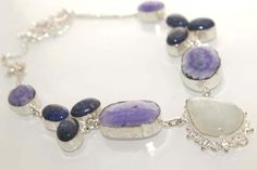 RAINBOW MOON STONE-LAPIS LAZULI-PURPLE DRUZY 925 STERLING SILVER NEW NECKLACE 5 #925silverpalace #Charm
