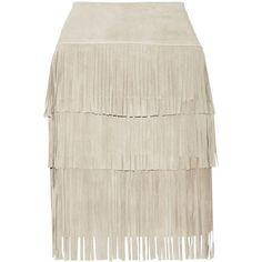 Illia Fringed suede and stretch-modal skirt (380 CAD) ❤ liked on Polyvore featuring skirts, white, stone, fringe skirt, white knee length skirt, stretchy skirts, white stretch skirt and illia