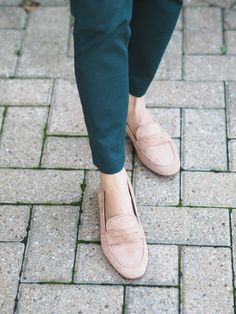 Pink Penny Loafers. These are perfect for work because they're so comfortable. They can be worn with so many different outfits too.