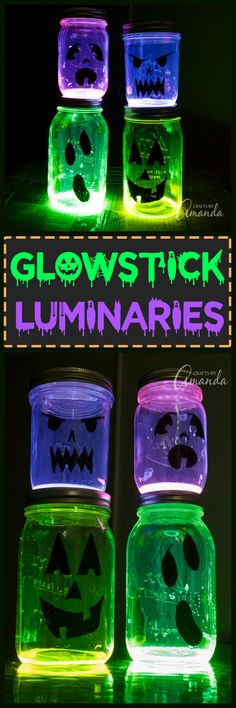 This Halloween night, make some glowing Jack O Lantern jars for your Halloween party or to line your sidewalk! Make these glowing ghouls in minutes.