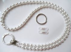 White Pearl Convertible Eyeglass Lanyard Chain Necklace - Eye Glasses Chain - Keychain - Pearl Lanyard - Beaded - Eyewear Jewelry