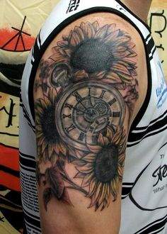 Sunflowers and fob watch tattoo – Watch for everyone Sunflower Tattoo Sleeve, Sunflower Tattoo Shoulder, Sunflower Tattoos, Sunflower Tattoo Design, Red Bird Tattoos, Black Tattoos, Body Art Tattoos, Side Tattoos, Tatoos