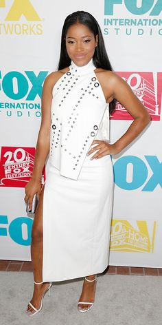 • Keke Palmer in Mugler with an Oroton clutch and Stuart Weitzman sandals •