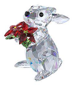 Swarovski Rabbit with Poinsettia Figurine