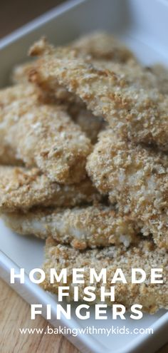 Homemade fish fingers for kids are delicious and easy. They're a a great meal for kids to make, that they'll also enjoy eating. Simply coat the fish in flour, beaten egg and breadcrumbs before baking in the oven. #fish fingers #easy recipe #how to make #from scratch #for kids #for toddlers #homemade #goujons #baked Quick Weeknight Dinners, Easy Family Dinners, Easy Meals, Homemade Fish Fingers, Kids Meals, Toddlers, Oven, Egg