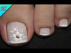 Pretty Toe Nails, Cute Toe Nails, Fancy Nails, Pedicure Nail Art, Toe Nail Art, Acrylic Nails, Nail Art Designs, French Pedicure Designs, Feet Nail Design