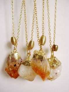 raw citrine crystal honey orange color gemstone gold dipped boho style necklace. $34.00, via Etsy.