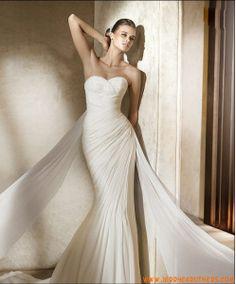eenvoudige strapless lieverd zeemeermin chiffon jurk