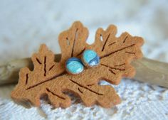 Small blue ear studs hand painted wood earrings by MyPieceOfWood