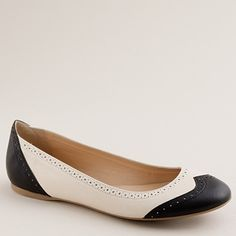 Now these spectator-style oxford look flats I could and would actually wear, if they only came in wide!  (I want a pair of classic black and white saddle shoes so bad, it's not even funny.)