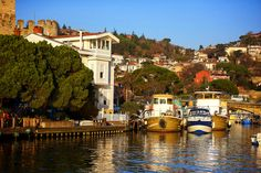 Sunset colors - Small bay in istanbul - Anadolu hisar . small coffee shops and small boats parking ,,,