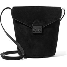 Loeffler Randall Suede bucket bag ($195) ❤ liked on Polyvore featuring bags, handbags, shoulder bags, black, cross body strap purse, suede handbags, crossbody purses, loeffler randall and shoulder strap bags