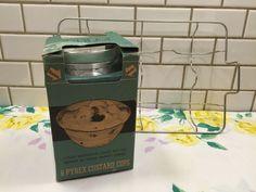 1940s Pyrex Custard Cups In Original Box Plus Wire Rack