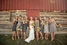 non matched dark grey bridesmaids