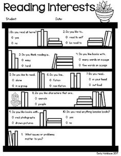 This is a quick reading survey to help you determine how your young students feel about reading. The first page is a short inventory was created with early first graders or even kindergarteners in mind. The second page has questions for more experienced readers.