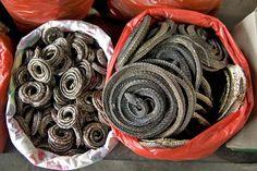 Day 7 Op de traditionele markt kom je onder meer gedroogde slangen tegen.