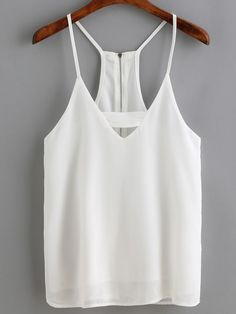 Buy White Spaghetti Strap Zipper Back Cami Top from abaday.com, FREE shipping Worldwide - Fashion Clothing, Latest Street Fashion At Abaday.com