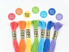 Start stitching in rainbow colors with these five DMC embroidery floss palettes. Dmc Embroidery Floss, Embroidery Bracelets, Cross Stitch Embroidery, Ribbon Embroidery, Cross Stitch Floss, Cross Stitch Patterns, Friendship Bracelet Patterns, Friendship Bracelets, Wild Olive