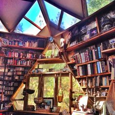 Dome Home by Daughter of the Sun // Unique Architecture // Books on Books Geodesic Dome Homes, Dome House, Home Libraries, Earthship, My Dream Home, Future House, Interior And Exterior, Architecture Design, House Styles